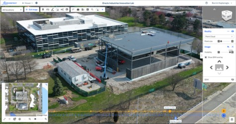 BIM model over reality capture from a drone flight and 3D point cloud